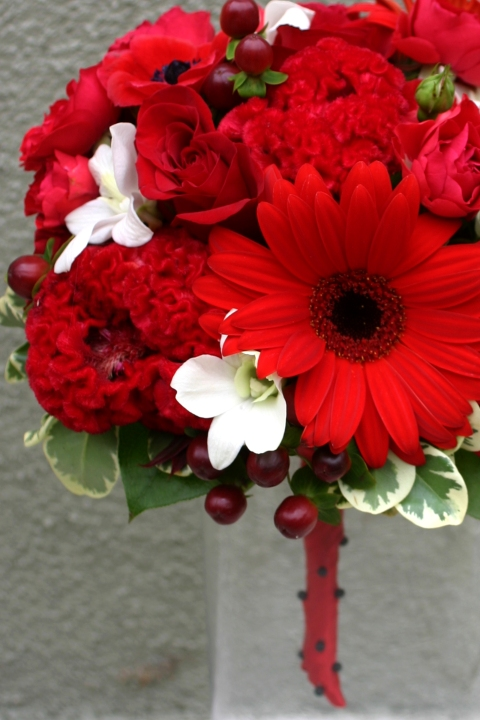 Red Gerbera Wedding Bouquets : Red and white wedding flowers floral design by