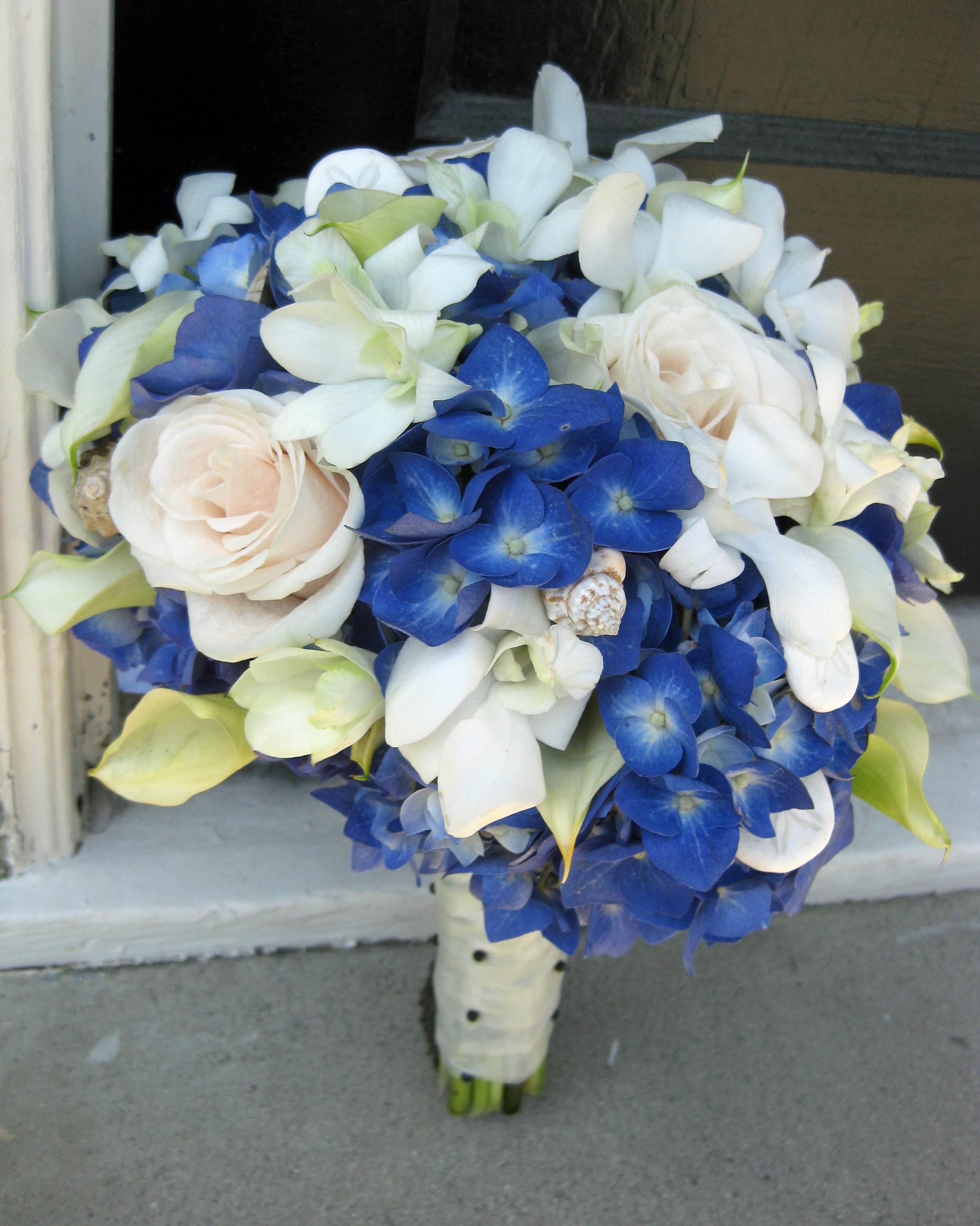 Blue white and black wedding flowers in laguna beach floral design the bride carried a bouquet made form royal blue hydrangea accented with mini calla lilies open roses touches of white orchids and seashells mightylinksfo
