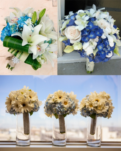 2012 blue wedding flowers; Floral Design By Jacqueline Ahne