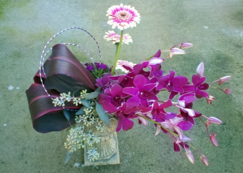 Stylized Arrangement with Orchids, ti leaves, mini gerbs - Floral Design By Jacqueline Ahne